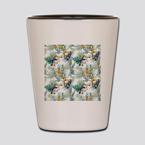 Macaw Tropical Birds and Plants Shot Glass