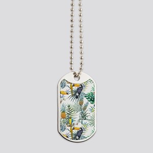 Macaw Tropical Birds and Plants Dog Tags
