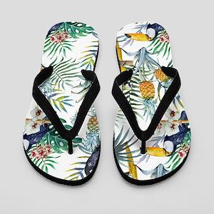 37e13adf7 Macaw Tropical Birds and Plants Flip Flops