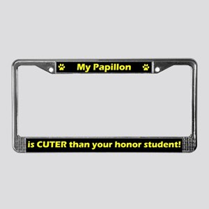 Honor Student Papillon License Plate Frame