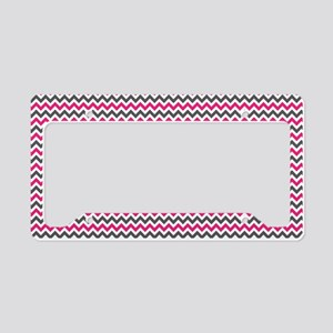 Pink Gray Chevron License Plate Holder