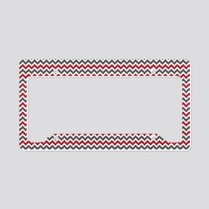 Red Gray Chevron License Plate Holder