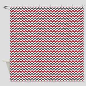 Red Gray Chevron Shower Curtain Curtains  CafePress