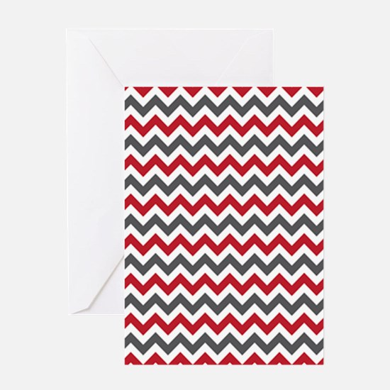 Red Gray Chevron Greeting Card