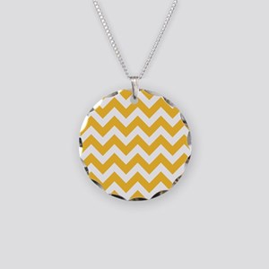 Yellow Chevron Necklace Circle Charm