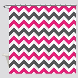 Pink Gray Chevron Shower Curtain