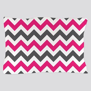 Pink Gray Chevron Pillow Case