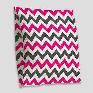 Pink Gray Chevron Burlap Throw Pillow