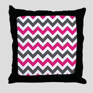 Pink Gray Chevron Throw Pillow