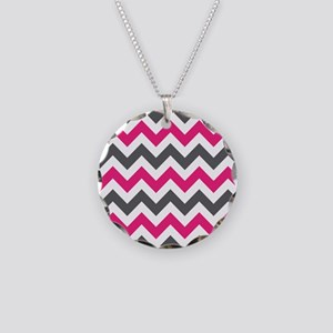 Pink Gray Chevron Necklace Circle Charm