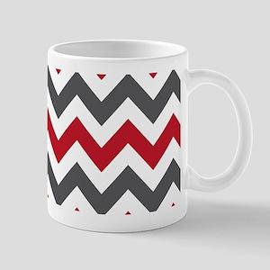 Red Gray Chevron Mug