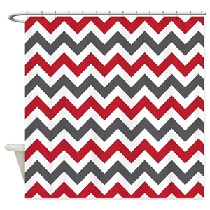 Red Chevron Shower Curtains