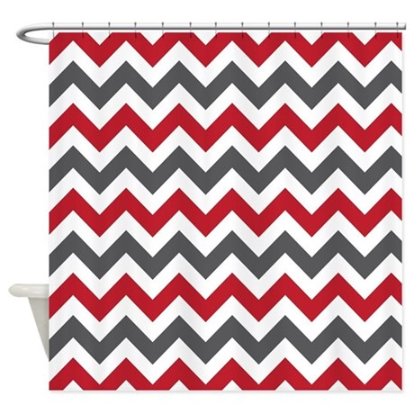 Amazing Red Gray Chevron Shower Curtain