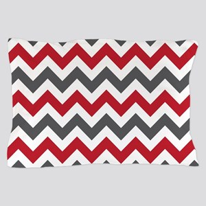Red Gray Chevron Pillow Case