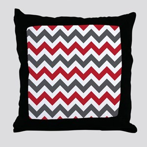 Red Gray Chevron Throw Pillow