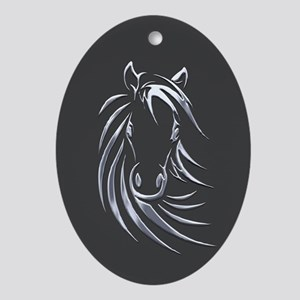 Silver Horse Ornament (Oval)