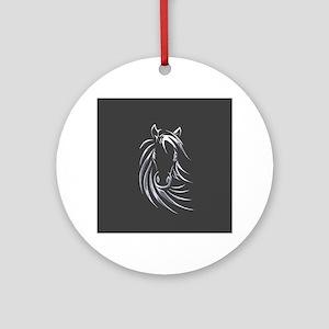 Silver Horse Ornament (Round)