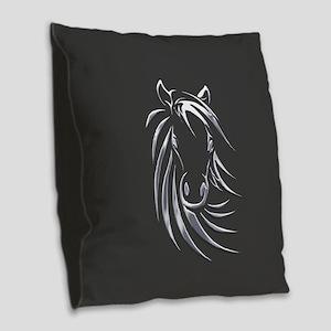 Silver Horse Burlap Throw Pillow