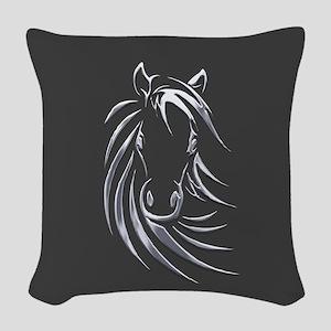 Silver Horse Woven Throw Pillow