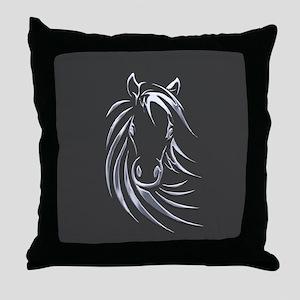 Silver Horse Throw Pillow