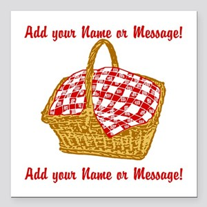 """Personalized Picnic Bask Square Car Magnet 3"""" x 3"""""""