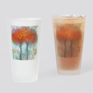 Dazzling Trees in Reds and Orange Drinking Glass