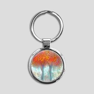 Dazzling Trees in Reds and Orange Round Keychain