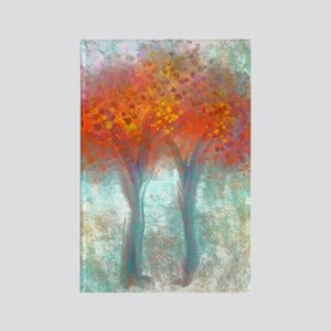 Dazzling Trees in Reds and Orange Rectangle Magnet