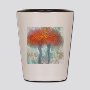Dazzling Trees in Reds and Orange Shot Glass