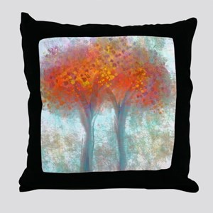 Dazzling Trees in Reds and Orange Throw Pillow