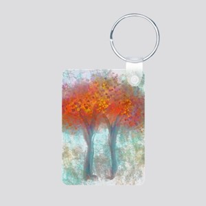 Dazzling Trees in Reds and Aluminum Photo Keychain