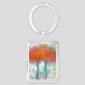 Dazzling Trees in Reds and Orang Portrait Keychain