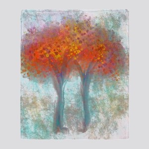 Dazzling Trees in Reds and Orange Throw Blanket