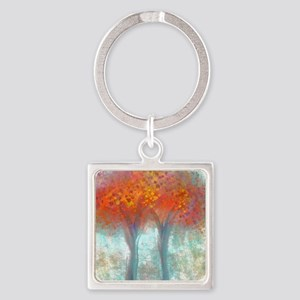 Dazzling Trees in Reds and Orange Square Keychain