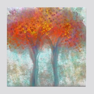 Dazzling Trees in Reds and Orange Tile Coaster