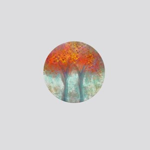 Dazzling Trees in Reds and Orange Mini Button