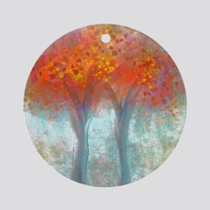 Dazzling Trees in Reds and Orange Round Ornament