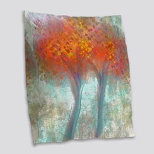 Dazzling Trees in Reds and Ora Burlap Throw Pillow