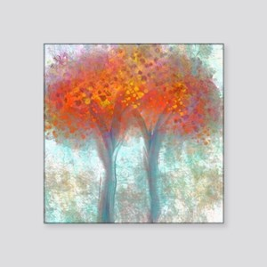 """Dazzling Trees in Reds and  Square Sticker 3"""" x 3"""""""