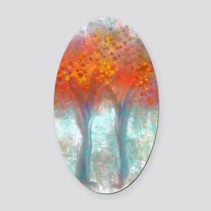 Dazzling Trees in Reds and Orange Oval Car Magnet