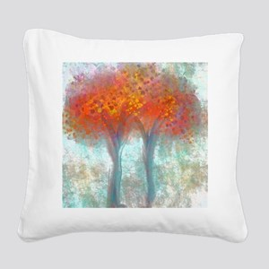 Dazzling Trees in Reds and Or Square Canvas Pillow