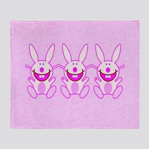 3 Bunnies Throw Blanket