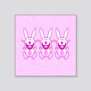"3 Bunnies Square Sticker 3"" x 3"""