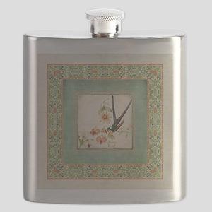 Chinoiserie Hummingbird Botanical Exotic Flo Flask