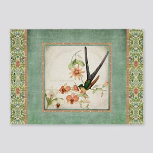Chinoiserie Hummingbird Botanical E 5'x7'Area Rug