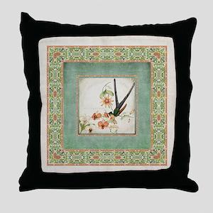 Chinoiserie Hummingbird Botanical Exo Throw Pillow
