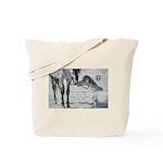 Stallion Whispering to Mini Horse w quote Tote Bag