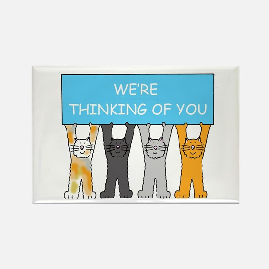 We're thinking of you, cartoon ca Rectangle Magnet