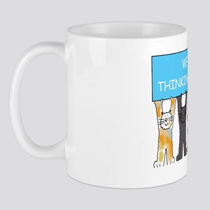 We're thinking of you, cartoon cats, en Mug