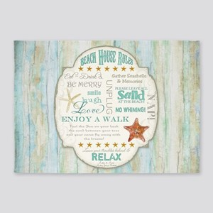 Beach House Rules Ocean Driftwood B 5'x7'Area Rug